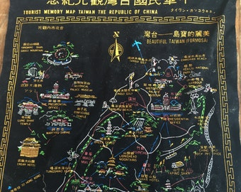 Vintage Black Velvet Tourist Memory Map of China