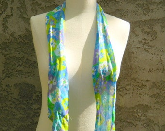 Lilac, White, Blue and Green Floral Head Scarf / Vintage Scarf / Rectangular Skinny Scarf