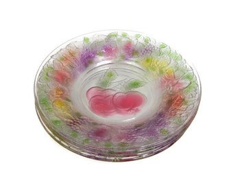 Vintage Firna Indonesia Clear Glass Embossed Multicolored Fruit Pattern Set of 4 Plates Stained Glass