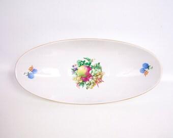 Vintage Naaman Israel Porcelain Oblong Bowl Fruit Design Centerpiece Serving Dish Footed Console Fruit Bowl