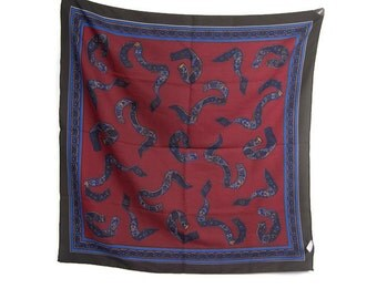 Vintage Italian Scarf Made in Italy Reds and Blues Square Polyester Ribbon Design Head Wear Neck Ware