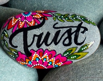 trust / painted rocks / painted stones / rocks / stones / believe / faith / home decor / art on stone / word for the year/ boho decor