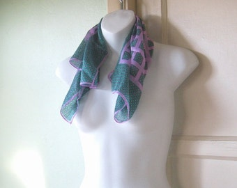 Teal/Purple Vintage Foulard Print Gift Scarf Made in Japan; Free Shipping/U.S.~Classic/Silky/Trad