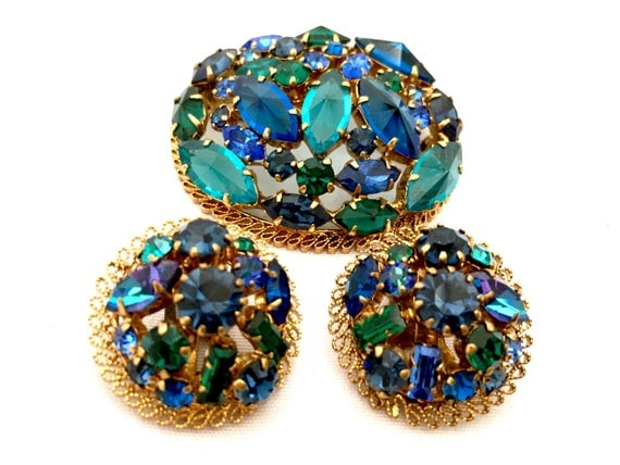 Vintage Peacock Blue Austrian Crystal Signed Demi Parure Set