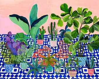 Blue tiled garden - illustration - giclee print