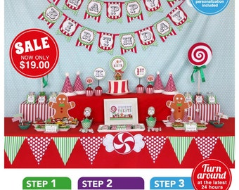 Christmas Sweet Shoppe Birthday Party Package Personalized FULL Collection Set - PRINTABLE DIY - PS001CA1x