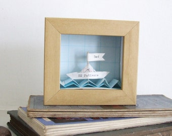 Little Personalized Paper Boat Artwork - father's day gift - personalised dad gift - husband personalised gift - seaside custom picture