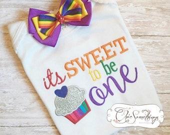 cupcake shirt, first birthday shirt, sweet to be one shirt, birthday cupcake shirt, rainbow shirt, second birthday shirt, rainbow cupcake