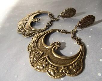 Large Gold Hoop Earrings Gold Chandelier Earrings Art Deco Earrings Art Nouveau Earrings Bohemian Brass Earrings Gypsy Earrings-Boho Joy