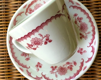 Chardon Rose Cup and Saucer,  Coffee or Tea with Maroon Red Roses and Scallops, Shenango Restaurant China Rim Rol Wel Roc ca. 1950s