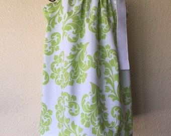 Pillowcase Dress - SUMMER DRESS -  18 Month - Green Damask - Spring - Toddler Girls - Sundress - Ready to ship - EmmaJaneCompany