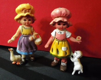 Set of Two Girls in Bonnets with Lamb & Goose ~ Vintage Pair of Hard Plastic Nursery Rhyme Decorative Figurines