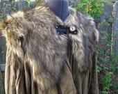 Viking Fur Capelet, Mantle - Medieval, Barbarian, Renaissance - Faux Fur Brown Timber Wolf