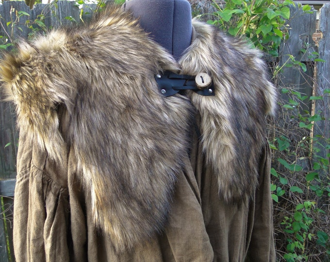 Viking Fur Capelet, Mantle - Medieval, Barbarian, Renaissance - Medium - Faux Fur Choose Color