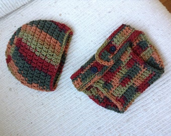 Crocheted Autumn Leaves Diaper Cover and Beanie Set (0 - 3 months) -- READY TO SHIP!