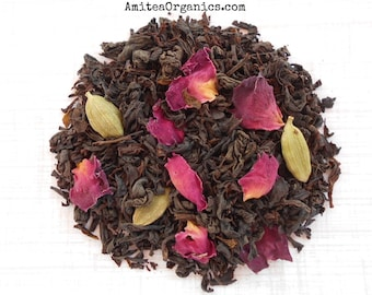 Rose and Cardamom Tea, PERSIAN ROSE Blend, Organic Whole Leaf Black Tea, Exotic, Floral Tea, Hand Blended, Caffeinated, Earth Friendly