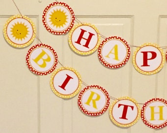 LITTLE SUNSHINE Happy Birthday or Baby Shower Party Banner Yellow Red - Party Packs Available