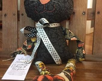 Henreitta, cloth black cat rag doll, washable, handmade