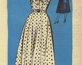 50s Shirtwaist Dress Pattern Mail Order Anne Adams 4756. Gored Skirt, Notched Collar and Cap, Short or 3/4 Sleeves. Size 14 Bust 32 inches