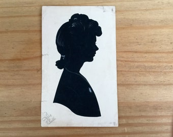 1940s Portrait Silhouette of a Lady Signed Rex Original Art Wall Hanging Home Decor