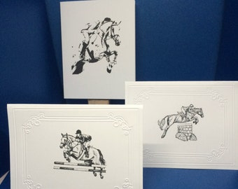 Set of 6 jumping pony cards! Hand stamped