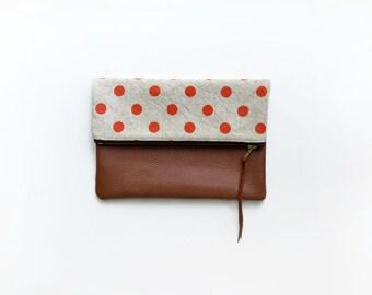 Orange Dot Clutch, Genuine Leather Foldover Bag, Purple Bag,  Zipper Pouch, Handbag Handmade Ipad Case Women's Accessories Pouch