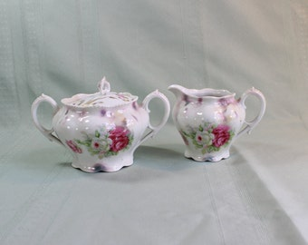 Hand painted Sugar Bowl and Creamer Set- Antique/ Vintage- pink and white roses- scalloped, embossed- lavender trim- shabby chic cottage