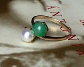 VALENTINES DAY SALE Antique Toi et Moi Pearl Jadeite 14k Gold Ring Victorian Style Vintage Engagement Alternate Engagement Promise Statement