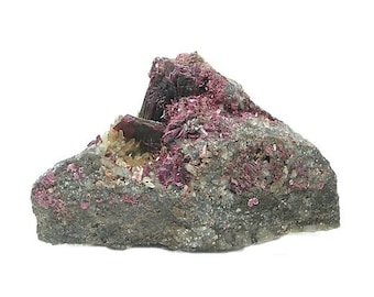 Red Purple Erythrite with Quartz,  Rare Crystals, Collector's Mineral Specimen, Cobalt Bloom on metallic ore matrix, African Geology Sample