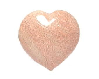 Perthite Peachy Pink Feldspar Puff Puffy Pillow Heart,  Semiprecious polished gem carving, Lucky charm, Reiki, Palm Stone
