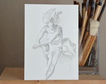 A5 original female drawing - Dance movement degas inspiration art flow pencil wash drawings woman dancing wall painting by Cristina Ripper