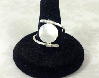 Mother of Pearl and Sterling Silver Wrap Ring