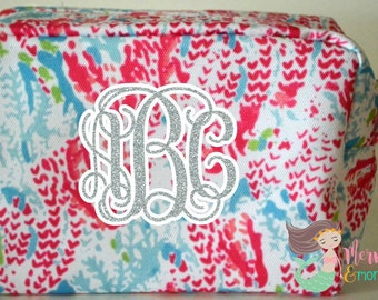 Personalized Cosmetic Bag, Makeup Bag, Lilly Pulitzer Inspired, Coral, Monogram, Lilly Bag, Makeup Case, Accessory Bag, Wedding, Gift