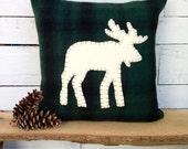 Rustic Home Decor, Moose Pillow, Woodland Christmas, Rustic Pillow, Lodge Pillow, Cabin Pillow, Throw Pillow, Holiday Throw Pillow