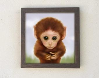 Framed Monkey Print, Baby Boy Nursery, Kids Wall Art, Playroom Decor
