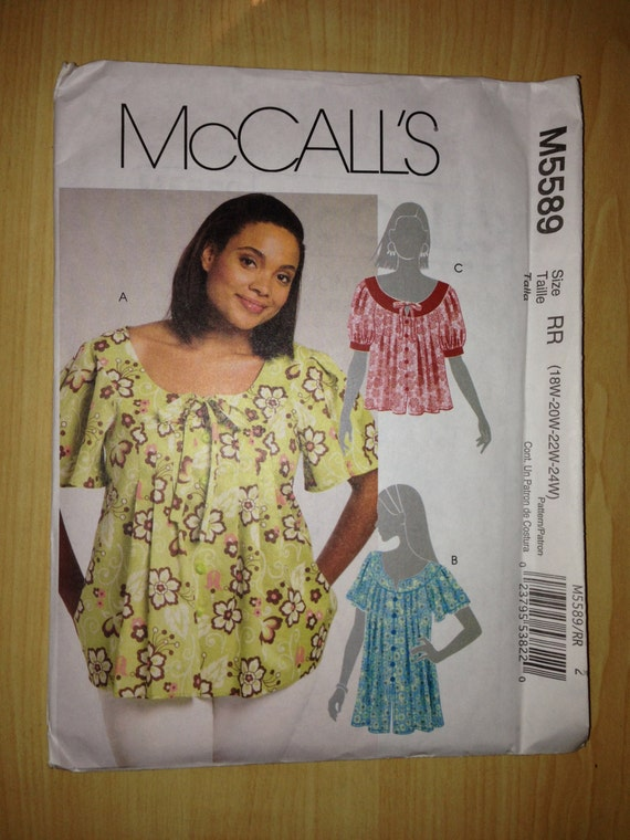 McCalls Sewing Pattern 5589 Misses and Womens Tops Size 18-24
