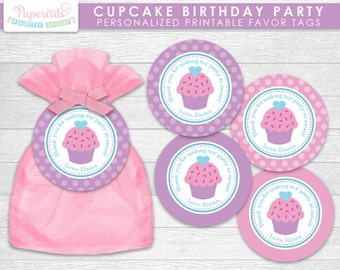 Cupcake Theme Birthday Party Favor Tags | Purple & Pink | Personalized | Printable DIY Digital File
