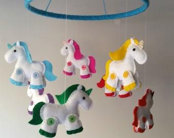Felt Unicorn Baby Mobile Rainbow Felt Plushies with glittery horns