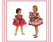 """Simplicity 1745 Vintage 50s Toddler Dress and Panties with 18"""", 22"""" 25"""" Matching Doll Sweet Sue or Binnie Sewing Pattern Size 3"""