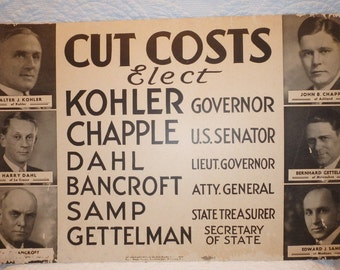 Republican Election Poster 1930's Wisconsin