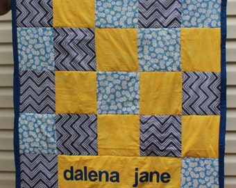 Personalized Patchwork Baby Quilt - blue and gold daisies