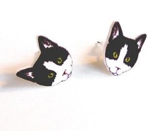 Cat Earrings original illustration kitten studs cat lady