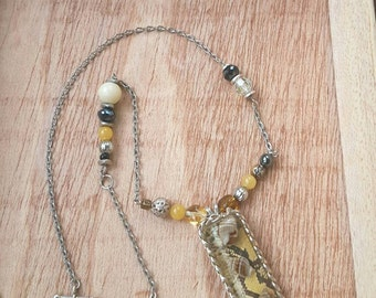 Yellow Python Snake Print Necklace with Shells and Chain, Handcrafted Resin, Silver Beaded Chain, Edgy Jewelry, Gift for a Friend