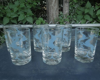 "Vintage Drinking Glasses Blue Antelope Gazelle Deer Set of Six Juice 3 1/2"" Tall Retro Mid Century Barware"