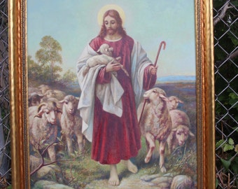 "Jesus Shepherd Sheep Oil on Canvas Painting Religious Framed Large 32"" x 23 1/2"" The Good Shepherd"