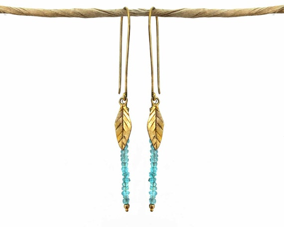 Apatite Leaf Earrings. Bohemian Beaded Drop Earrings. Gold Fill or Sterling Silver. Nature Jewelry. E-2009