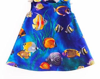 Tropical Fish - Blue - Robert Kauffman -  Aline - Sea Beauty - March Break - Toddler Cotton Dress - Photo  - Dress Sewing Pattern