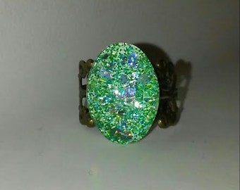 Mint Green Glitter Ring