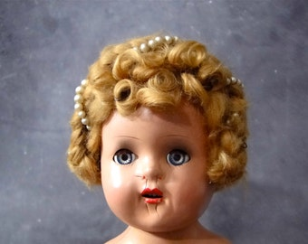 1940's Composition Bride Doll Original Wedding Dress and Mohair Wig