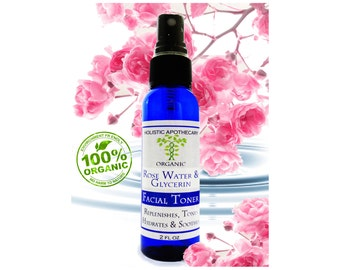 Organic ROSEWATER & GLYCERIN Facial Toner Spray Mist Regenerating, Hydrates, and Refines Pores. Promotes a Youthful Complexion.